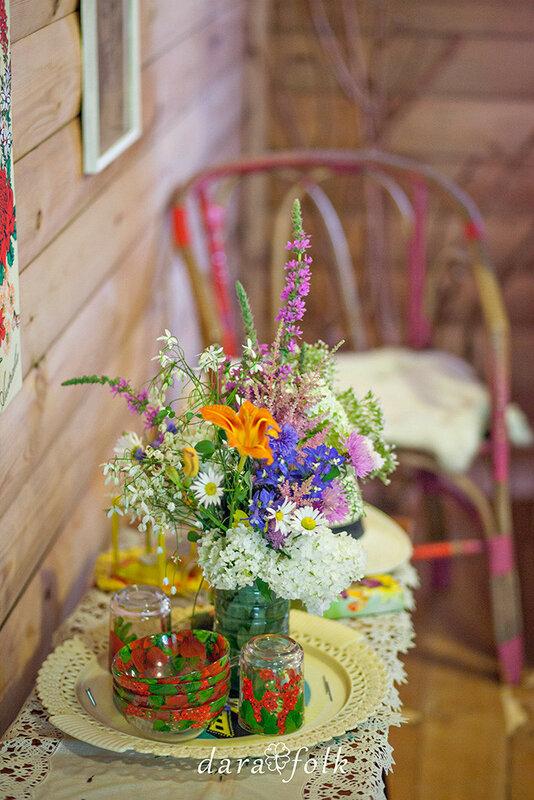 Букет садовых цветов.