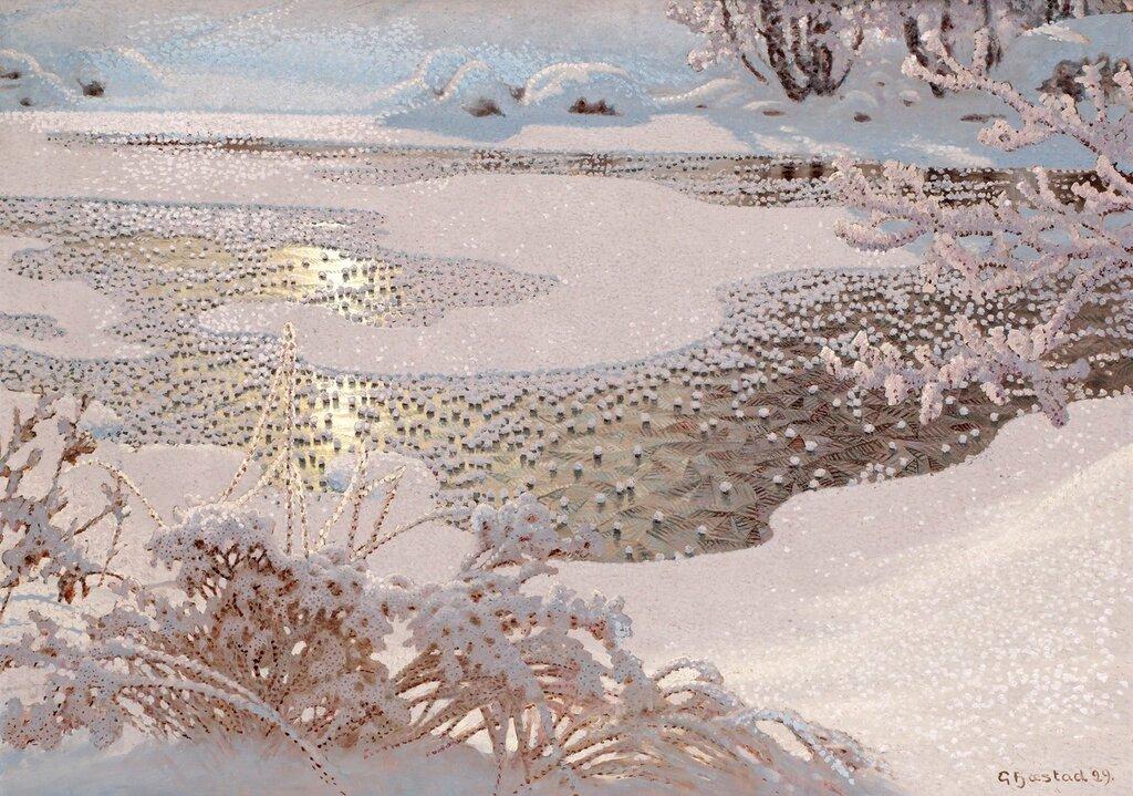 Серебрится снег, переливается!  Gustaf Fjaestad