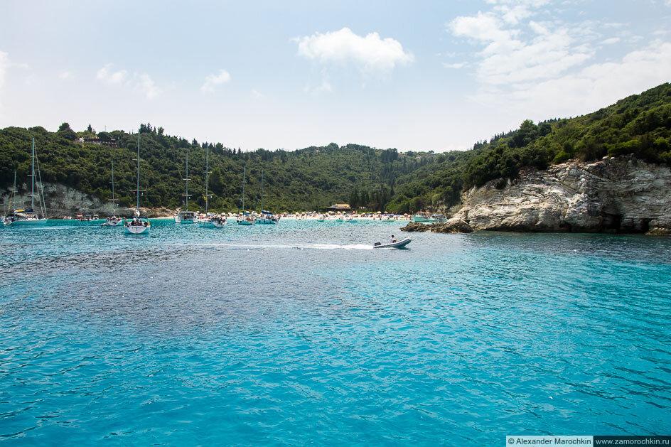 Остров Антипаксос, яхты и пляж