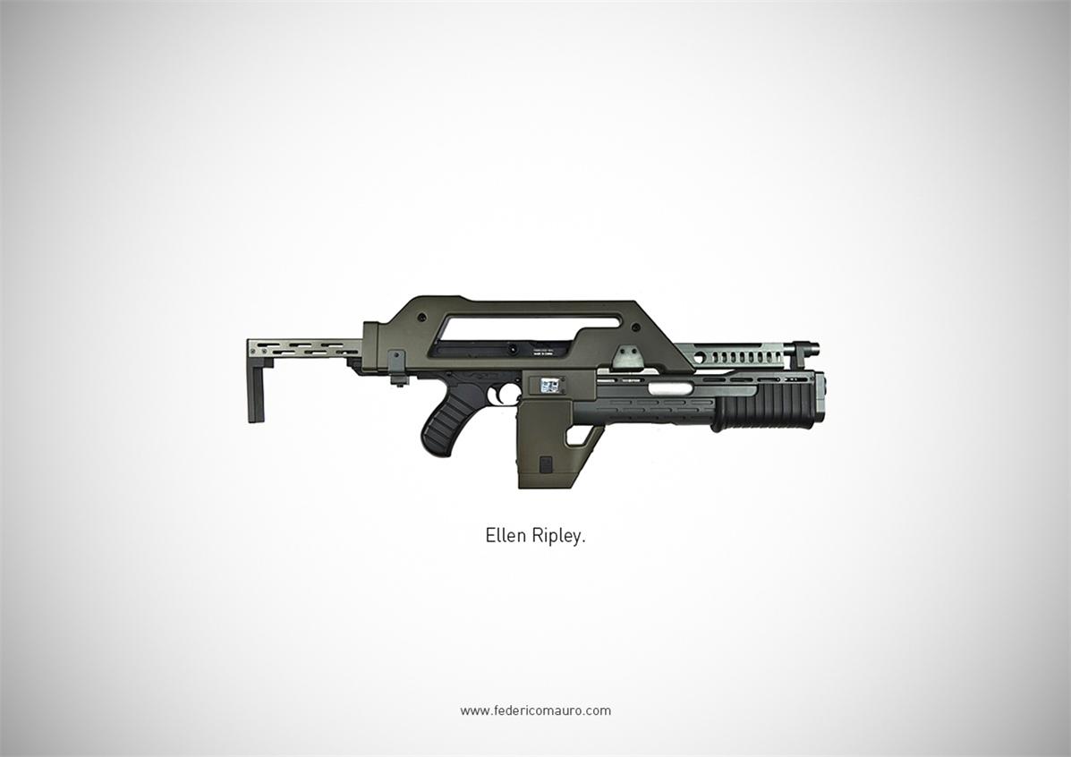 Знаменитые пушки - оружие культовых персонажей / Famous Guns by Federico Mauro - Ellen Ripley (Aliens)