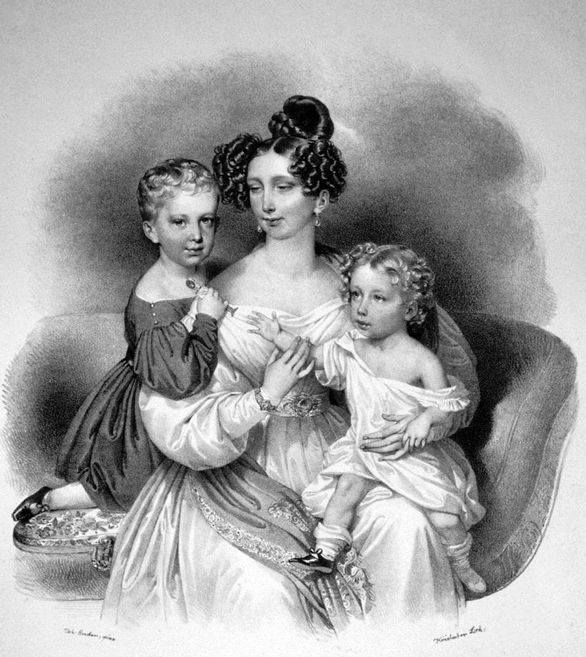 Ezerzogin Sophie von Österreich (1805-1872) mit ihren Kindern Franz Josef (1830-1916) und Ferdinand Maximilian (1832-1867). 1835