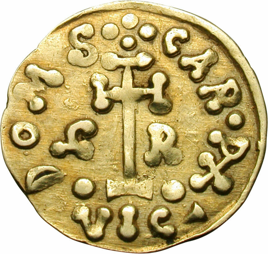 A gold tremissis, circa 788-806 AD, from the time of Grimoald III, the Lombard Prince of Benevento in Dark Ages Italy. It continued to be minted after the fall of the Empire0.jpg