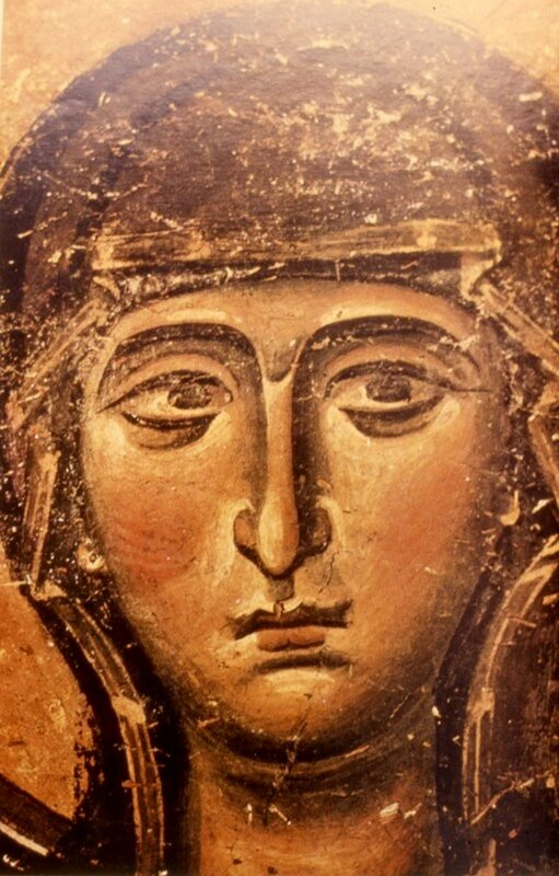 Пресвятая Богородица. Фрагмент фрески монастыря Св. Иоанна Богослова на острове Патмос, Греция. 1180 год.