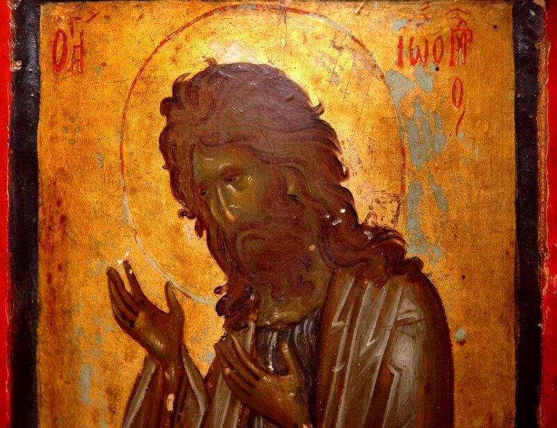 Святой Иоанн Предтеча. Икона. Византия, конец XIV века. Монастырь Святой Екатерины на Синае. Фрагмент.