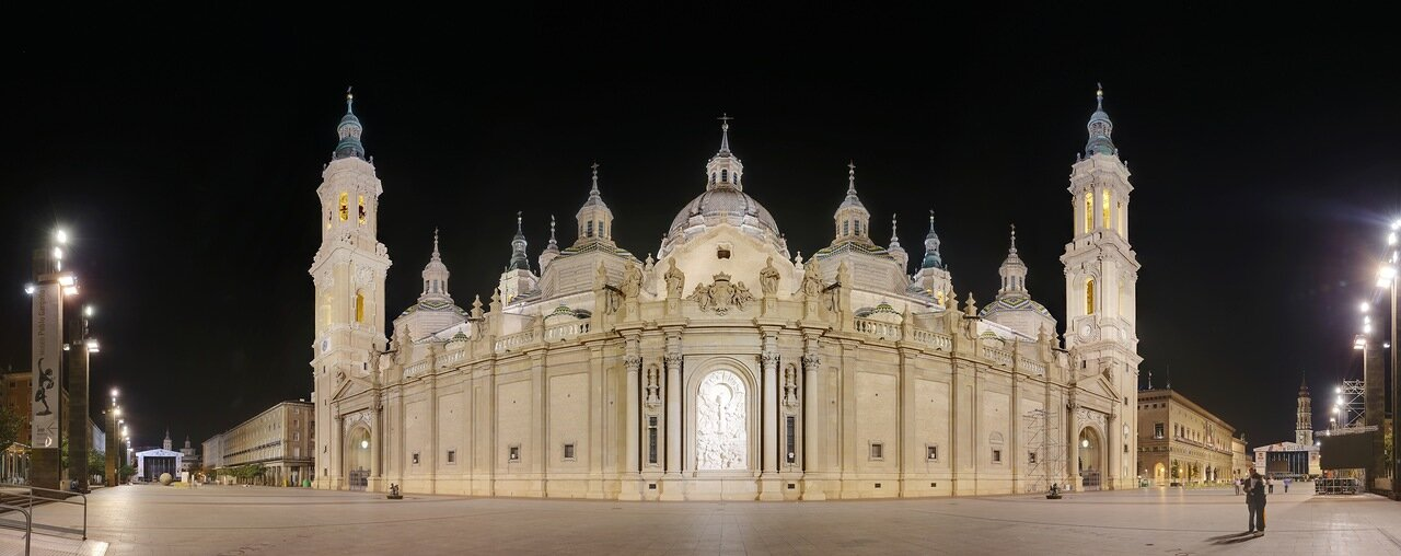 Zaragoza. The Cathedral of the virgin Pilar at night. panorama.