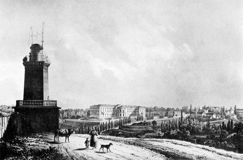 М. Сажин. Вид на Крещатик и Институт благородных девиц, 1850-е
