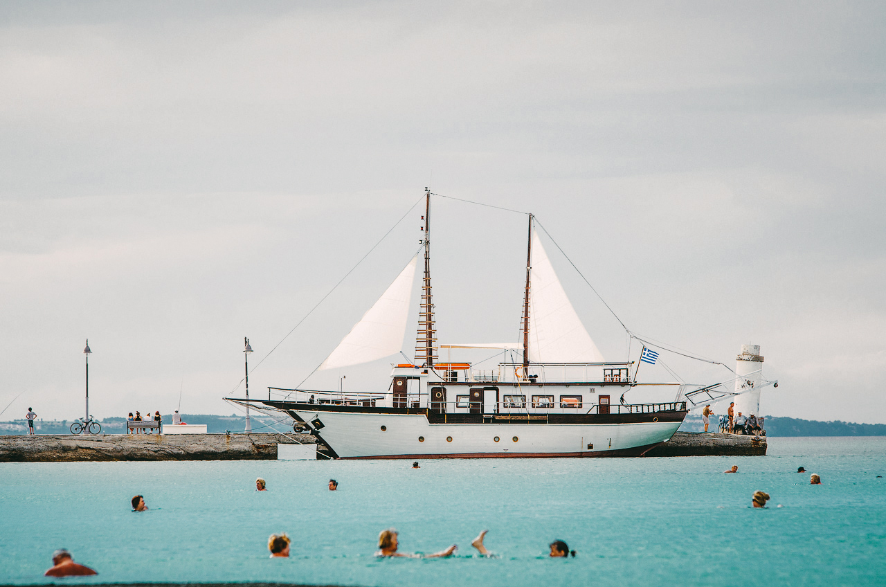 Греция, Халкидики, пляж в Пефкохори, Эгейское море