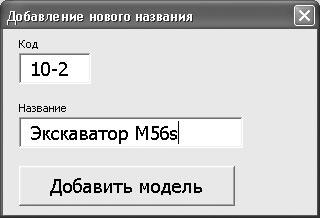 Рис. 3.17. Заполнение информации о новой модели в форме