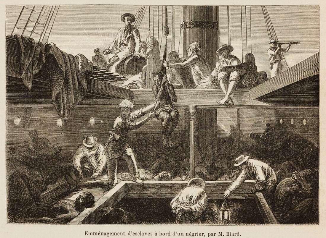 Погрузка африканских рабов в трюм судна (1861 год)