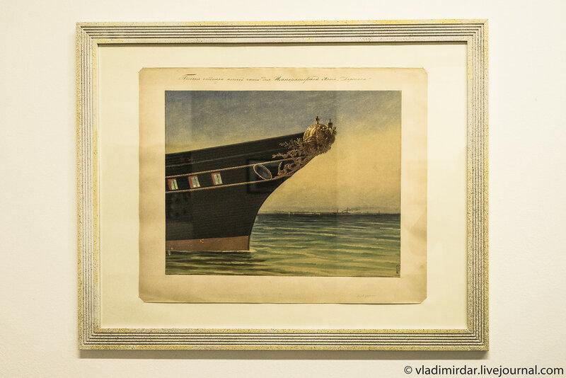 Проект отделки носовой части Императорской яхты «Держава». Ипполит Монигетти.