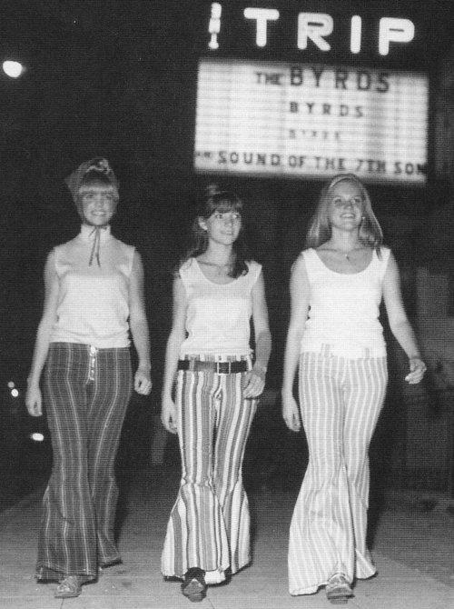 Girls wearing bell bottoms 60s