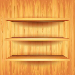 Wooden shelves, vector background
