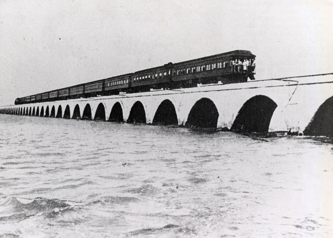 Florida East Coast Railway, Key West Extension. Train on the Long Key Viaduct. Monroe County Library Collection.