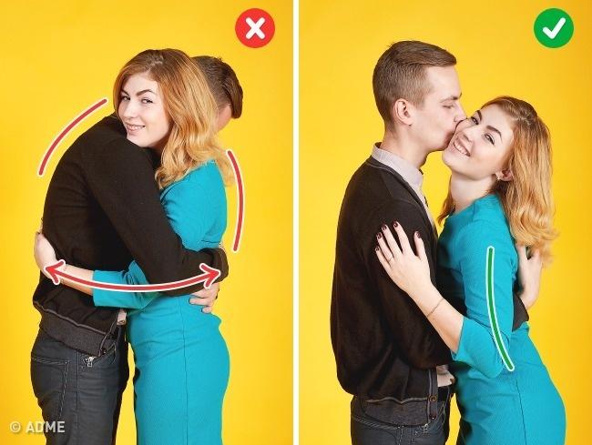 Непереусердствуйте, обнимая своего партнера, иначе превратитесь водну странную фигуру. Просто прит