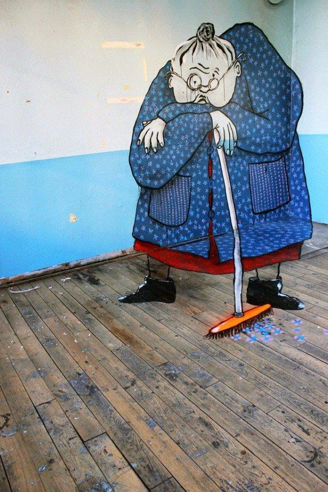 Ella & Pitr — дуэт французских уличных художников, в творчестве которых преобладают оптические иллюзии (7 фото)