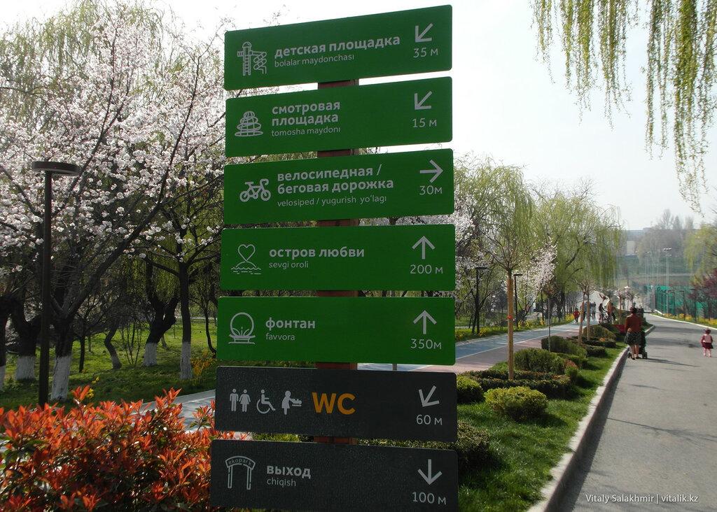 Указатели в парке Бабура, Ташкент
