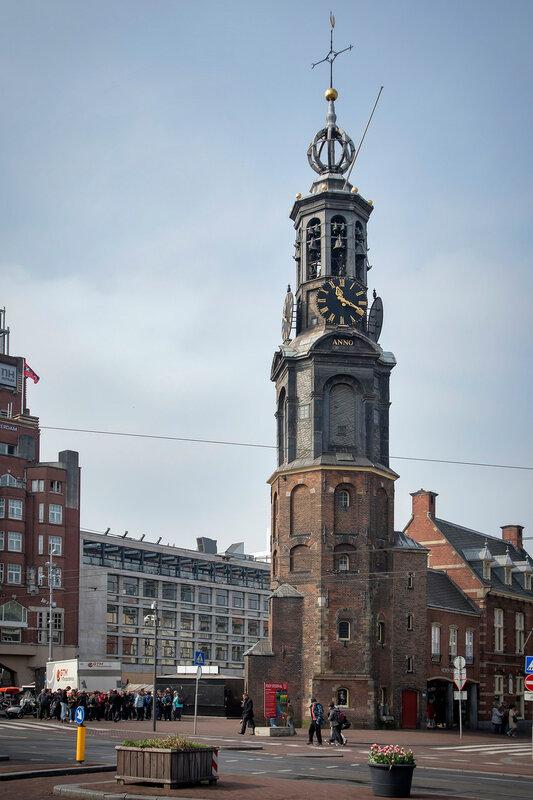 The Munttoren, rebuilt in Amsterdam Renaissance style around 1620