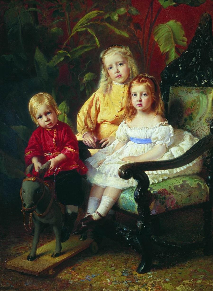 Портрет детей Стасовых. Начало 1870-х  Государственный Русский музей, С.-Петербург.