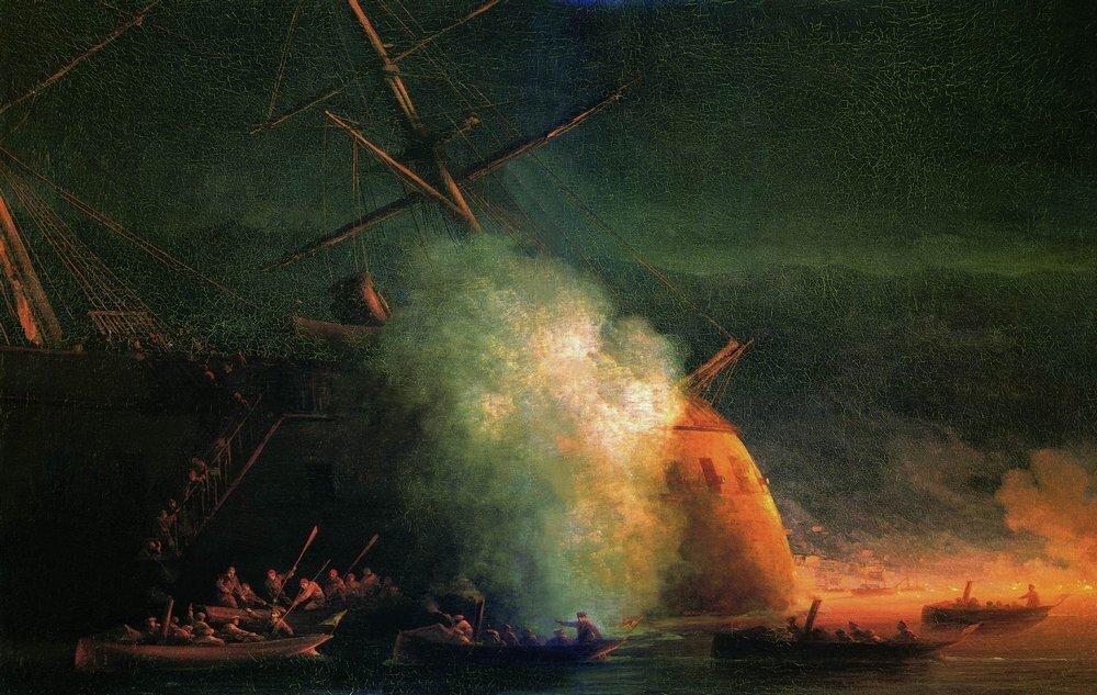 Минная атака катерами парохода Великий князь Константин турецкого броненосца Ассари-Шевкет на Сухумском рейде 12 августа 1877 года. 1877.jpg