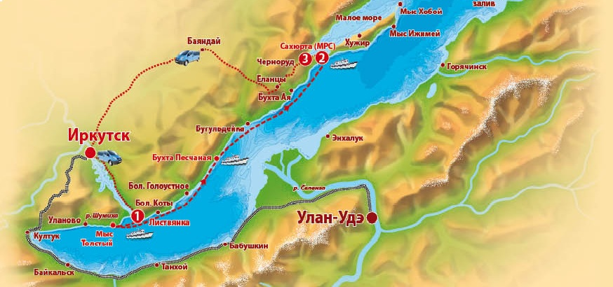 Схема маршрута из Иркутска в