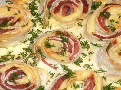 Омлет - букет из лаваша с сыром