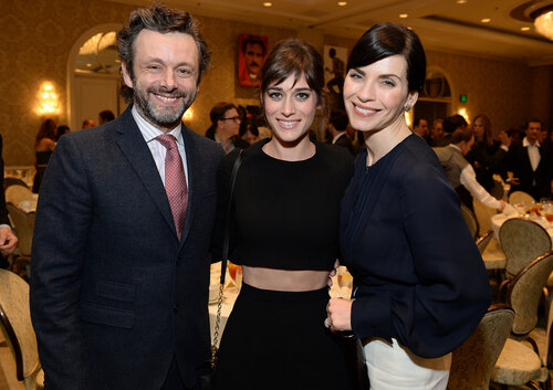 BEVERLY HILLS, CA - JANUARY 10: (L-R) Actors Michael Sheen, Lizzy Caplan, and Julianna Margulies attend the 14th annual AFI Awards Luncheon at the Four Seasons Hotel Beverly Hills on January 10, 2014 in Beverly Hills, California. (Photo by Michael Kovac