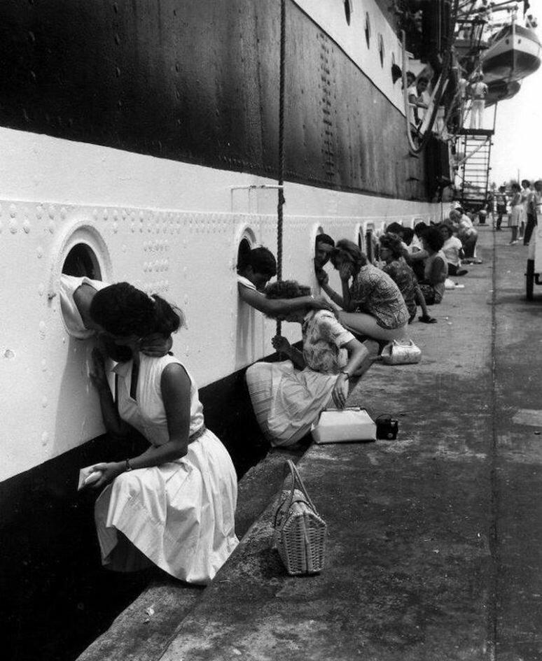 "Departure of the ""Amerigo Vespucci"", Egypt, 1963."