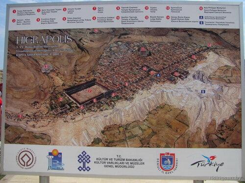Карта Памуккале и Хиеполиса