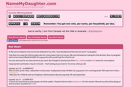 Пара из Канады доверила интернету выбор имени для своей дочери