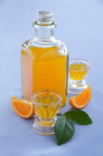 Orange liqueur cooked at home.