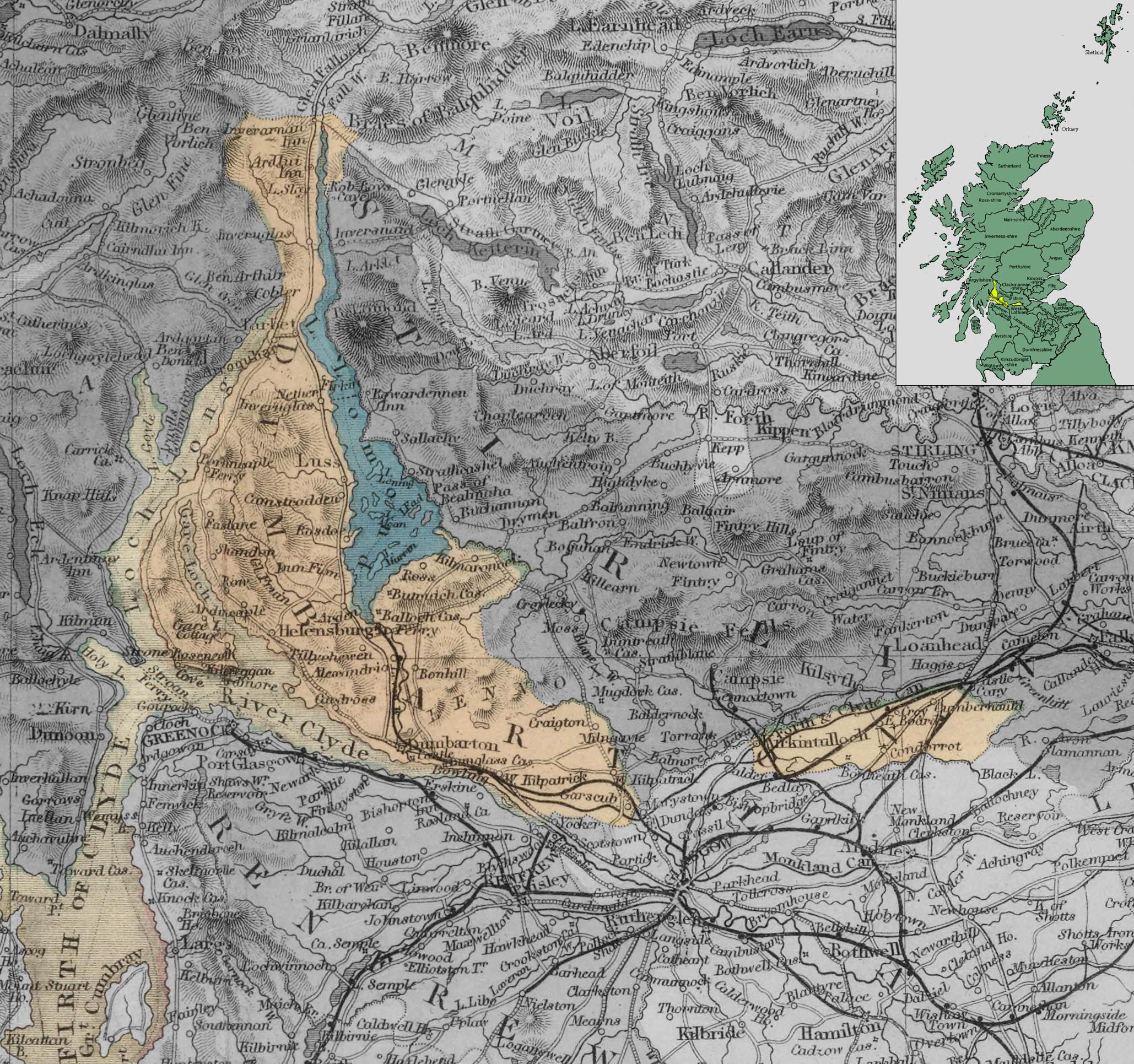 Карта Данбартоншира