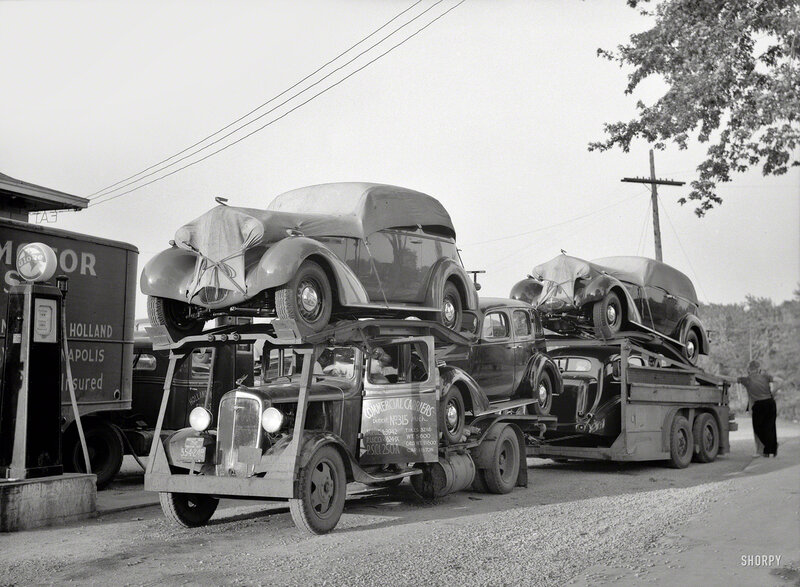May 1936, somewhere in Indiana. 'Auto transport at gas station'