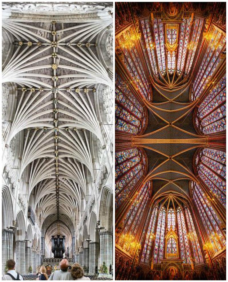 Эксетер собор, Англия и Сент-Шапель, Франция