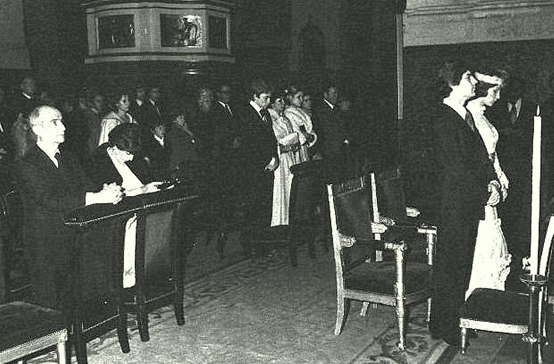 Луи и Жанна де Фюнес на свадьбе сына Оливье.jpg