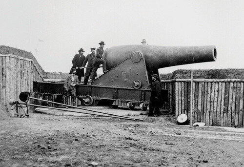 A 15-inch Rodman gun during the Civil War.  The 15-inch gun was the largest muzzle loading gun adopted by the U.S. Army.  It used 50 pounds of black powder to hurl a 450-pound solid iron ball.