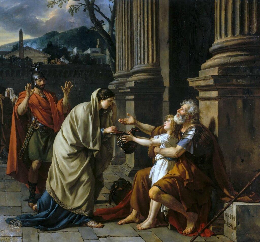 Жак-Луи Давид: Велизарий, просящий подаяние Музей изобразительных искусств, Лилль 1781. 288х312