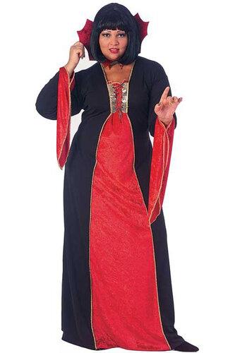 Женский карнавальный костюм Платье вампирши с воротником