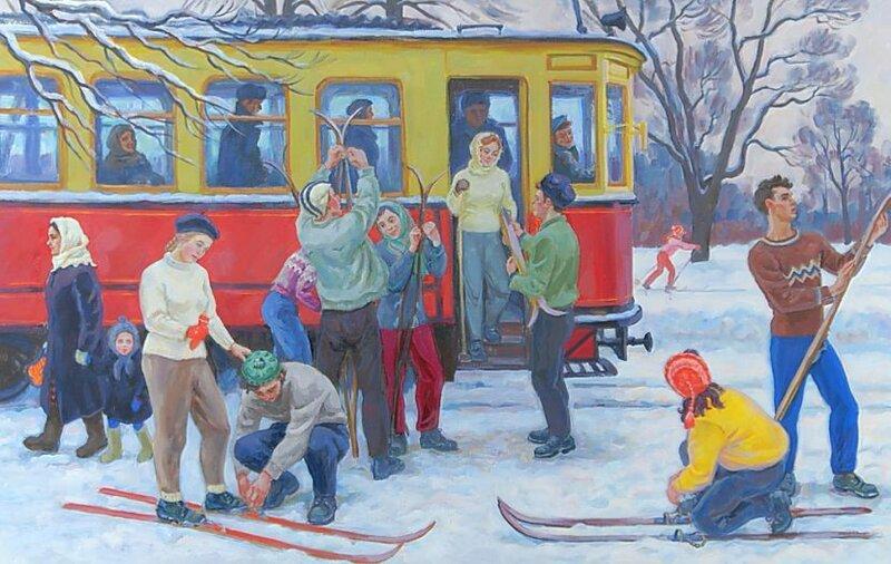 Хохловкина Эльза Давидовна.Лыжники в Сокольниках, 50-е