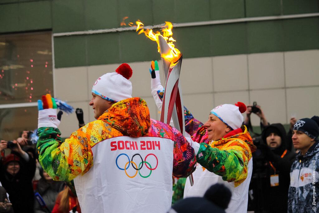 эстафета, огонь, олимпиада, белгород