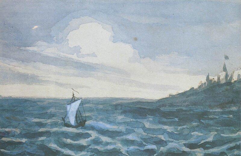 Лермонтов. Морской вид с парусной лодкой, фрагмент, акварель, библиотека Салтыкова-Щедрина, Санкт-Петербург.