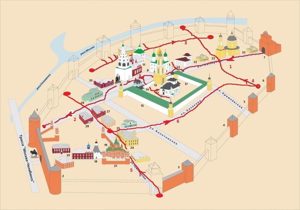 Схема кремля и маршрут 6й