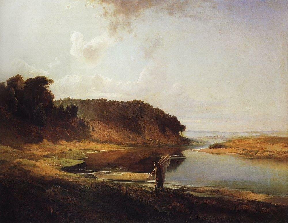 Пейзаж с рекой и рыбаком. 1859.jpg