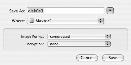 Рис. 1.3. Выбрав диск, для которого требуется создать резервную копию, вы получите возможность присвоить имя новому образу и указать, куда его следует копировать