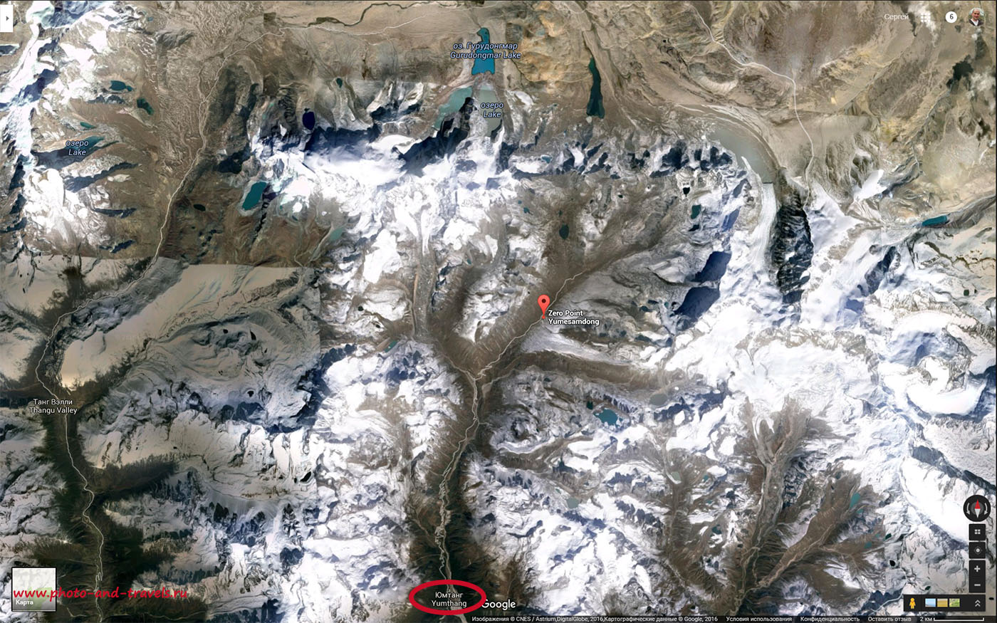 Рисунок 1. Карта путешествия из Yumthang Valley в Zero Point. Севернее видна еще одна достопримечательность штата Сикким – озеро Гурудонгмар (Gurudongmar Lake). Сюда тоже организуют двухдневные экскурсии. Интересные места в Индии.