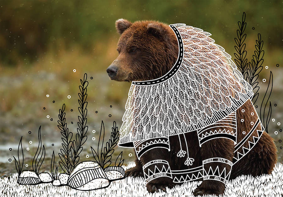 Wild Animals with Funny Drawings of Costumes (9 pics)