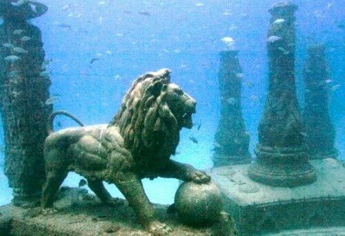 Лев под водой