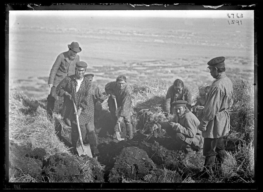 Вальдемар Иохельсон курирует раскопки старых землянок коряков, 1901