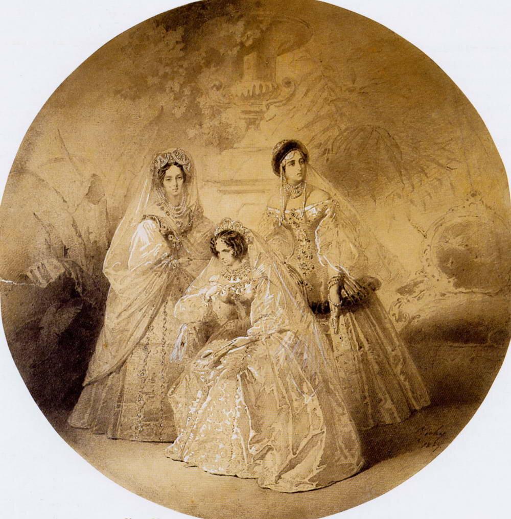 Портрет императрицы Марии Александровны, вдовствующей императрицы Александры Федоровны и великой княгини Александры Иосифовны. 1857.