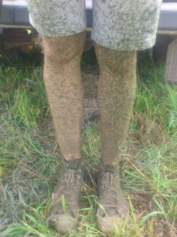 Когда косишь траву триммером в шортах