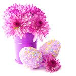 Easter eggs with pink flowers